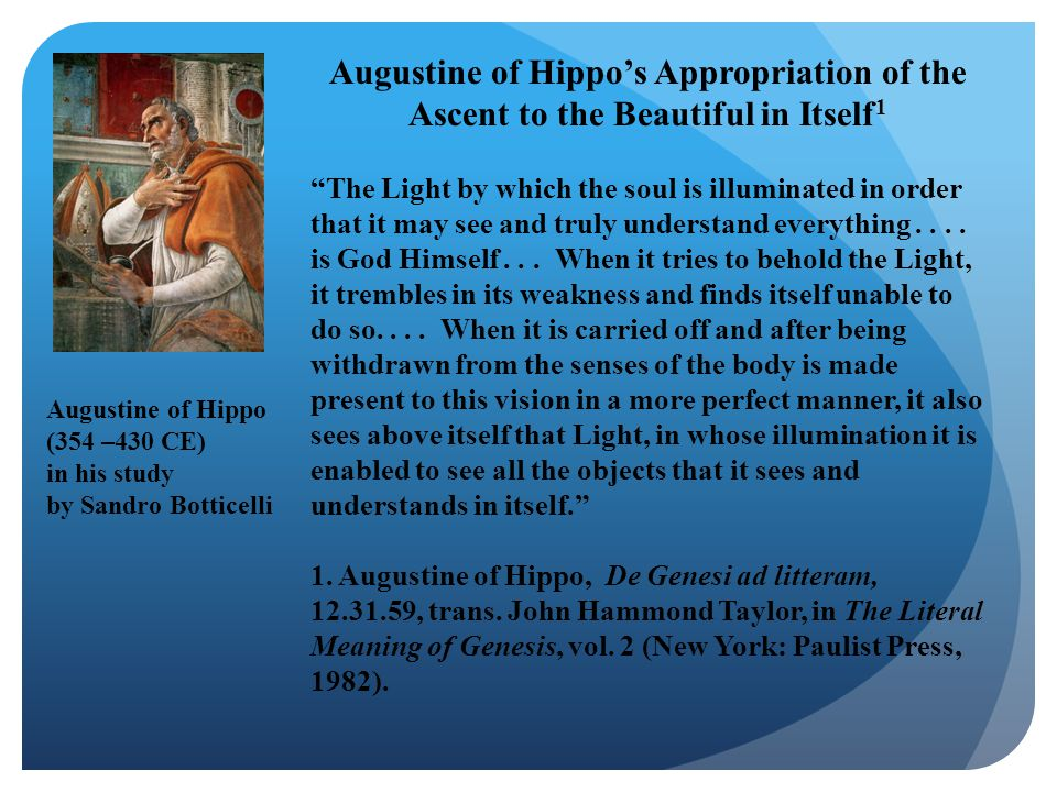 Augustine of Hippo's Appropriation of the Ascent to the Beautiful in Itself1
