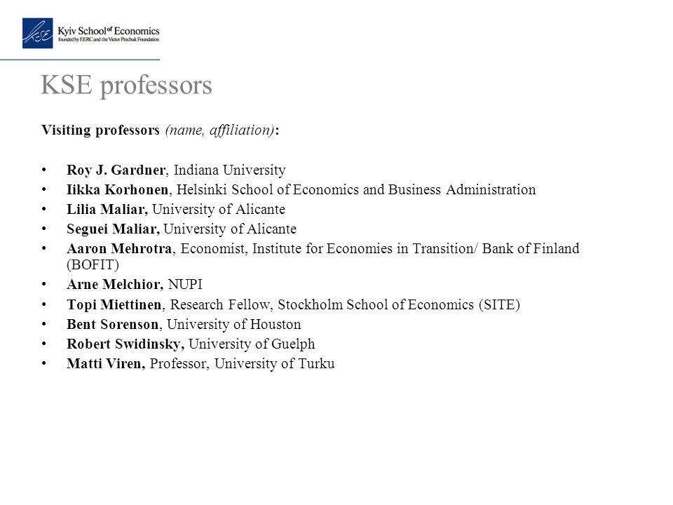KSE professors Visiting professors (name, affiliation):