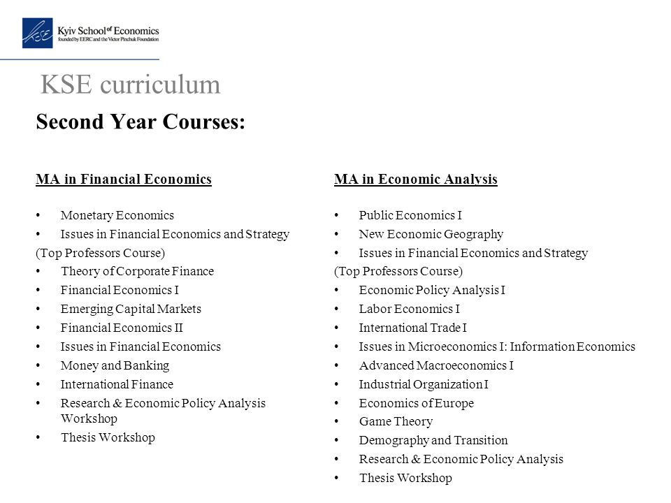 KSE curriculum Second Year Courses: MA in Economic Analysis