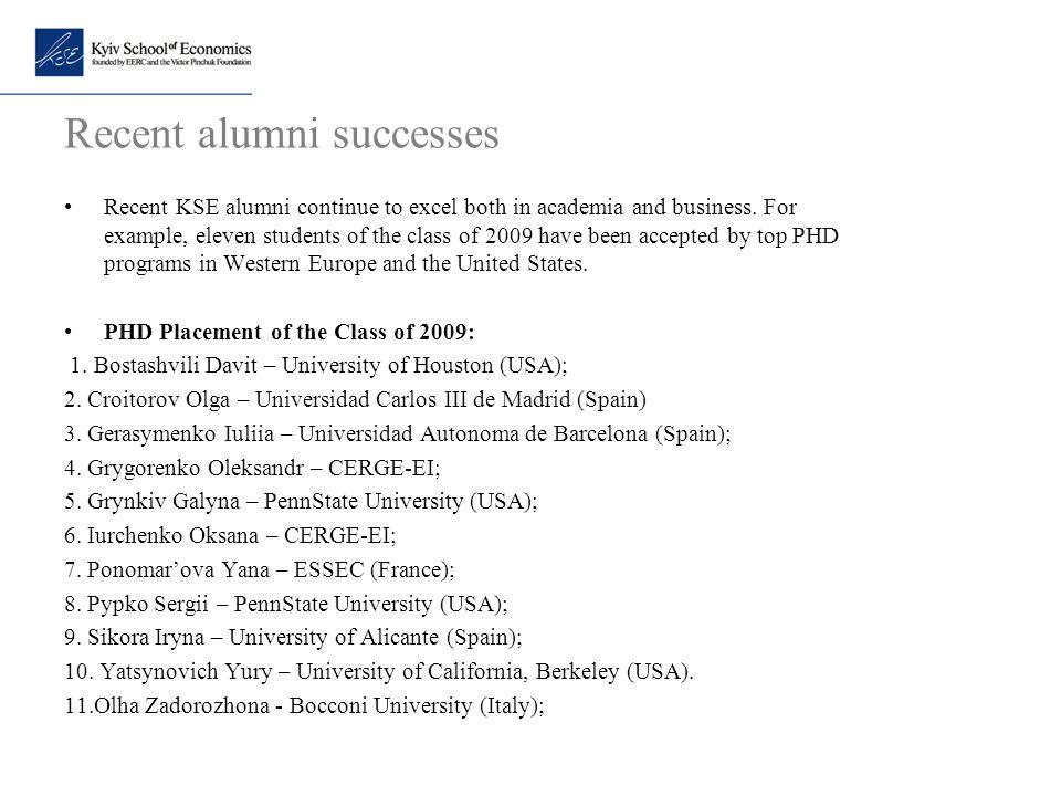 Recent alumni successes