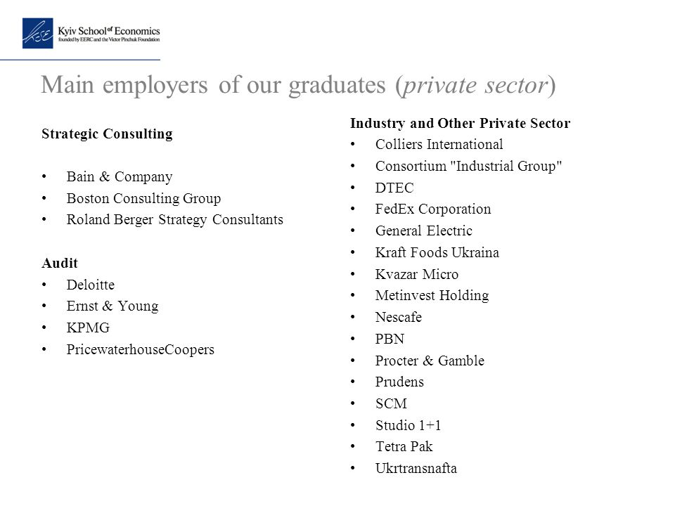 Main employers of our graduates (private sector)