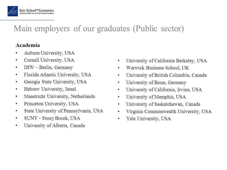 Main employers of our graduates (Public sector)