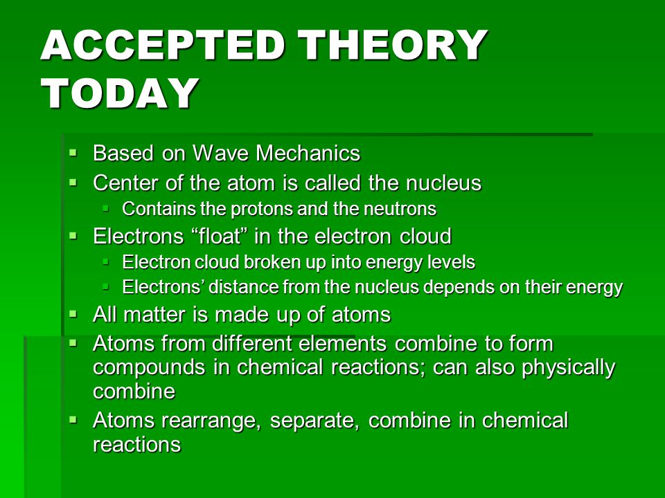 ACCEPTED THEORY TODAY Based on Wave Mechanics