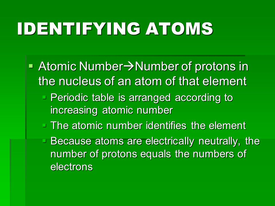 IDENTIFYING ATOMS Atomic NumberNumber of protons in the nucleus of an atom of that element.