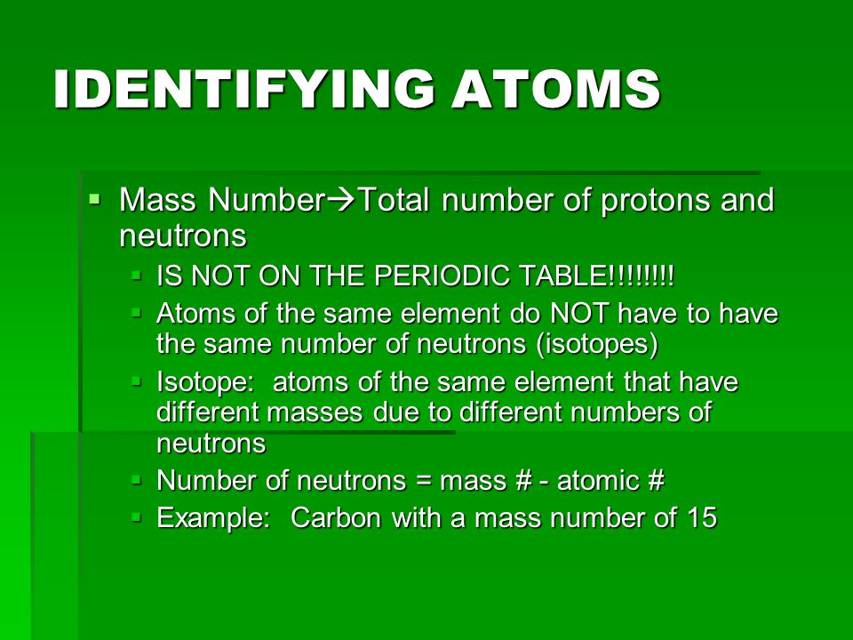 IDENTIFYING ATOMS Mass NumberTotal number of protons and neutrons