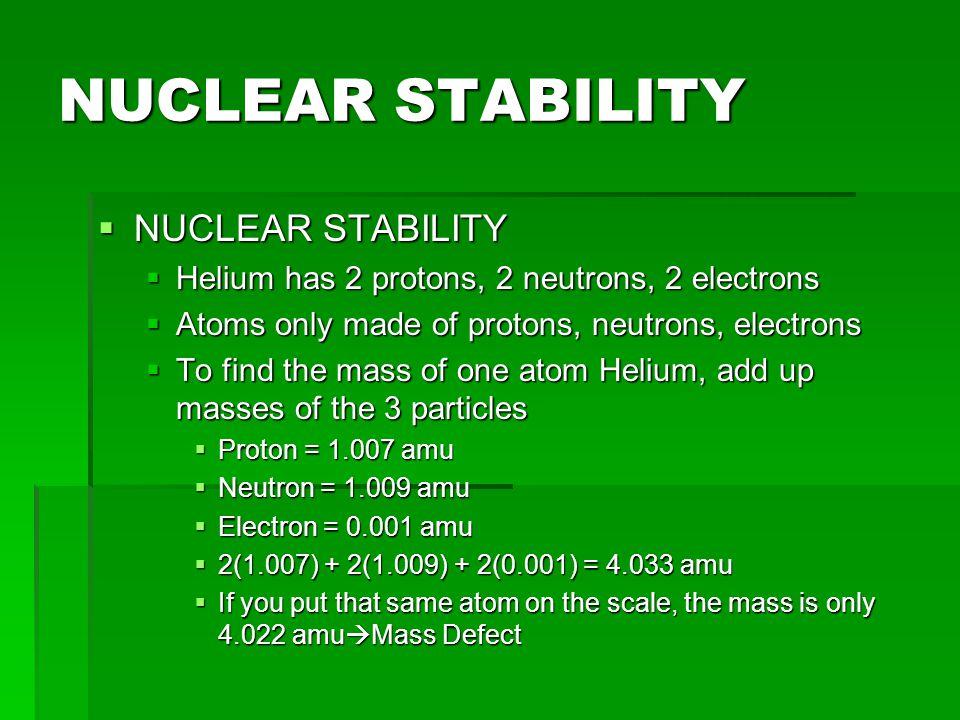 NUCLEAR STABILITY NUCLEAR STABILITY