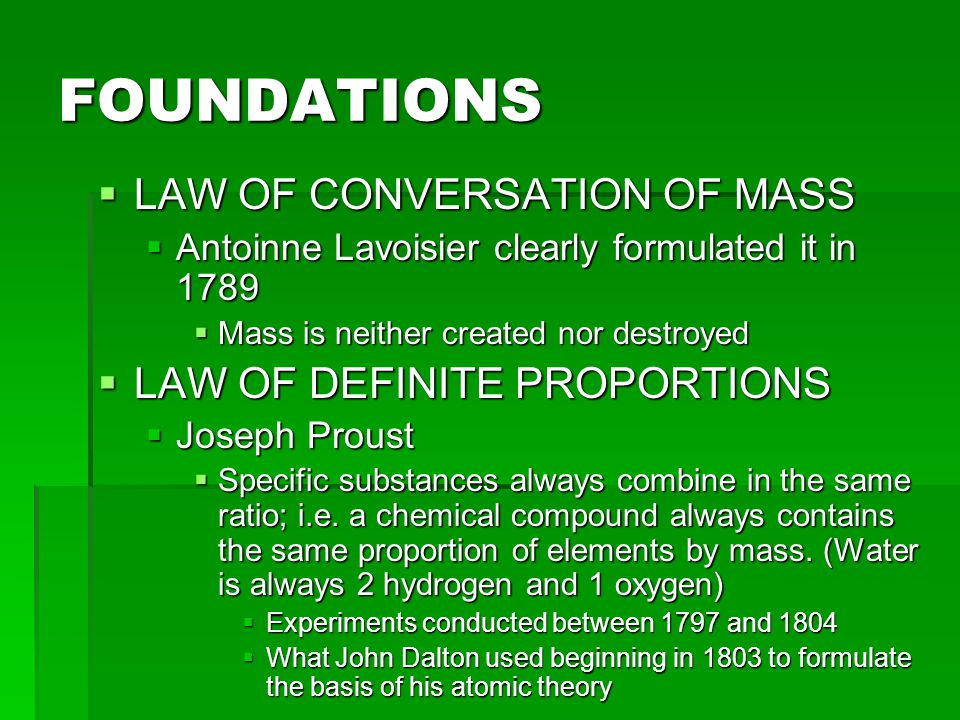 FOUNDATIONS LAW OF CONVERSATION OF MASS LAW OF DEFINITE PROPORTIONS