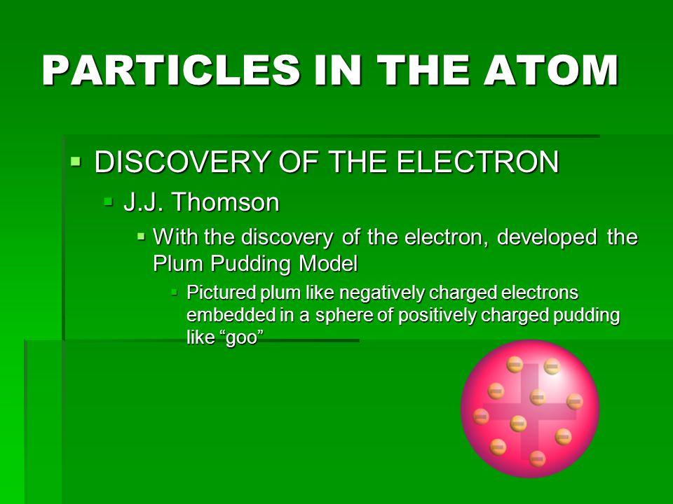 PARTICLES IN THE ATOM DISCOVERY OF THE ELECTRON J.J. Thomson