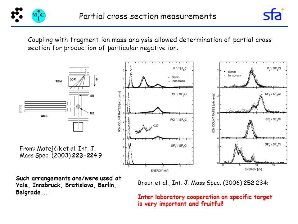 Partial cross section measurements