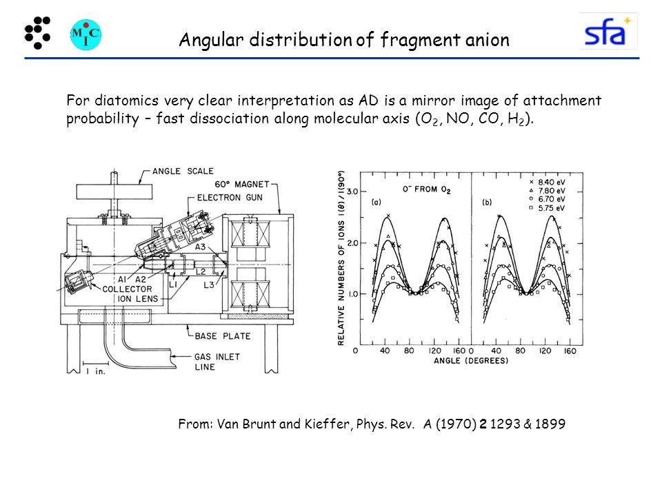 Angular distribution of fragment anion