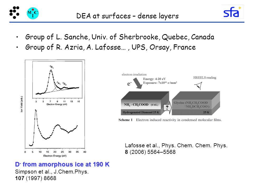 DEA at surfaces – dense layers