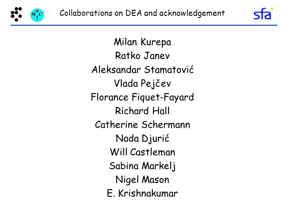 Collaborations on DEA and acknowledgement
