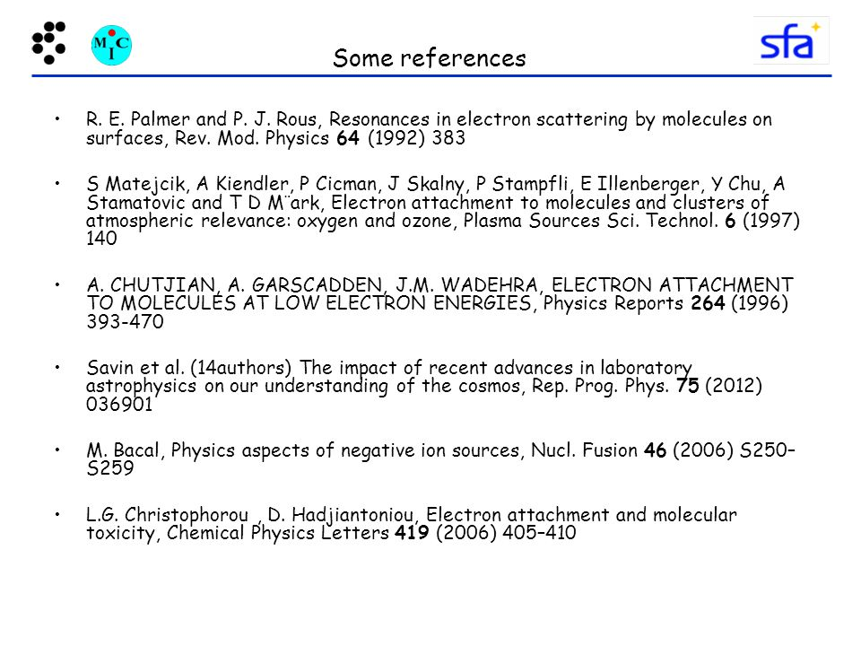 Some references R. E. Palmer and P. J. Rous, Resonances in electron scattering by molecules on surfaces, Rev. Mod. Physics 64 (1992) 383.