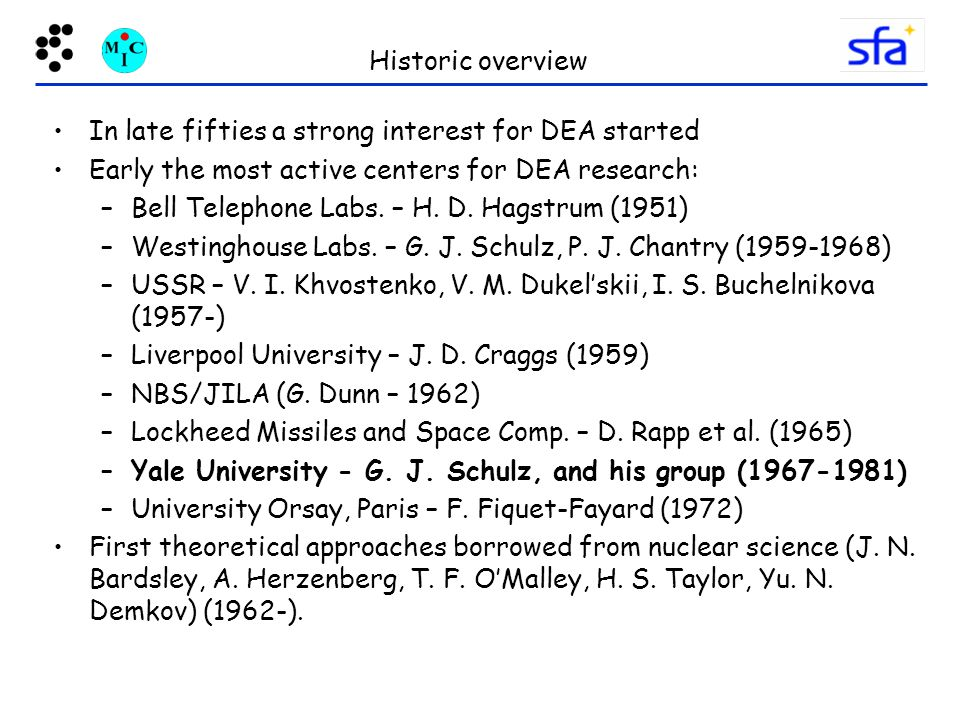 Historic overview In late fifties a strong interest for DEA started. Early the most active centers for DEA research: