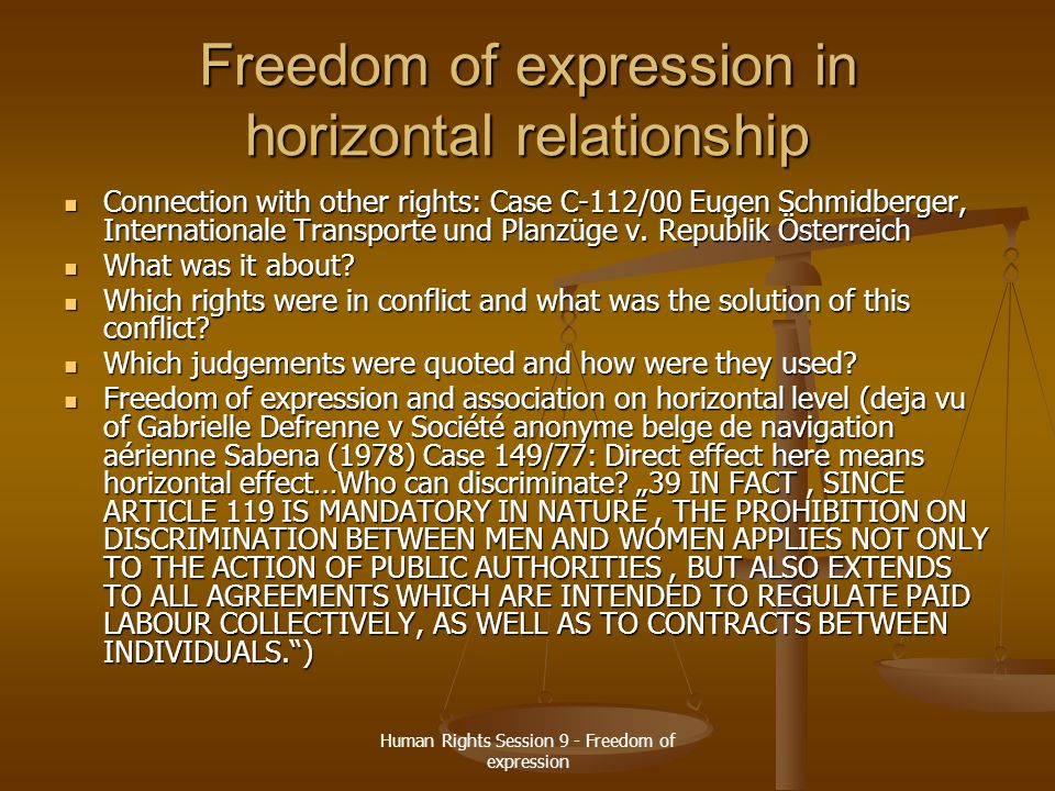 Freedom of expression in horizontal relationship