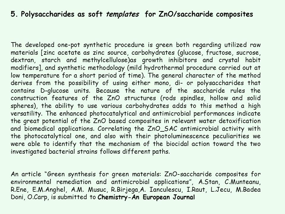 5. Polysaccharides as soft templates for ZnO/saccharide composites