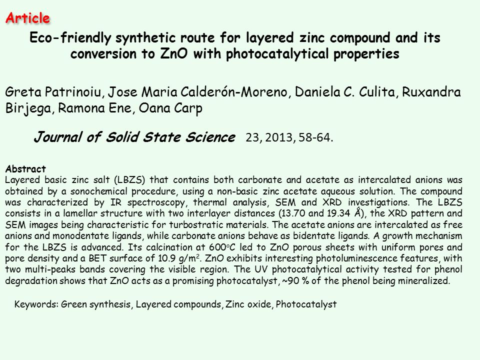 Journal of Solid State Science 23, 2013, 58-64. Article