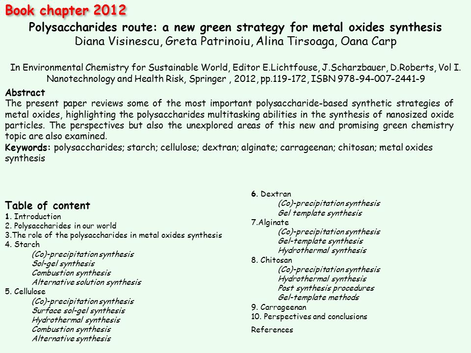 Polysaccharides route: a new green strategy for metal oxides synthesis