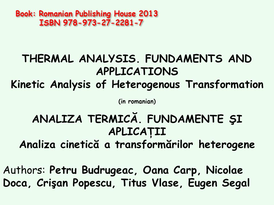 THERMAL ANALYSIS. FUNDAMENTS AND APPLICATIONS