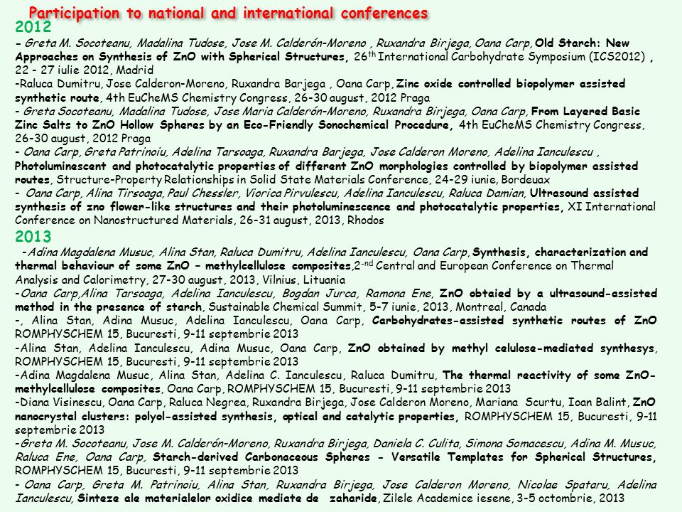 Participation to national and international conferences 2012