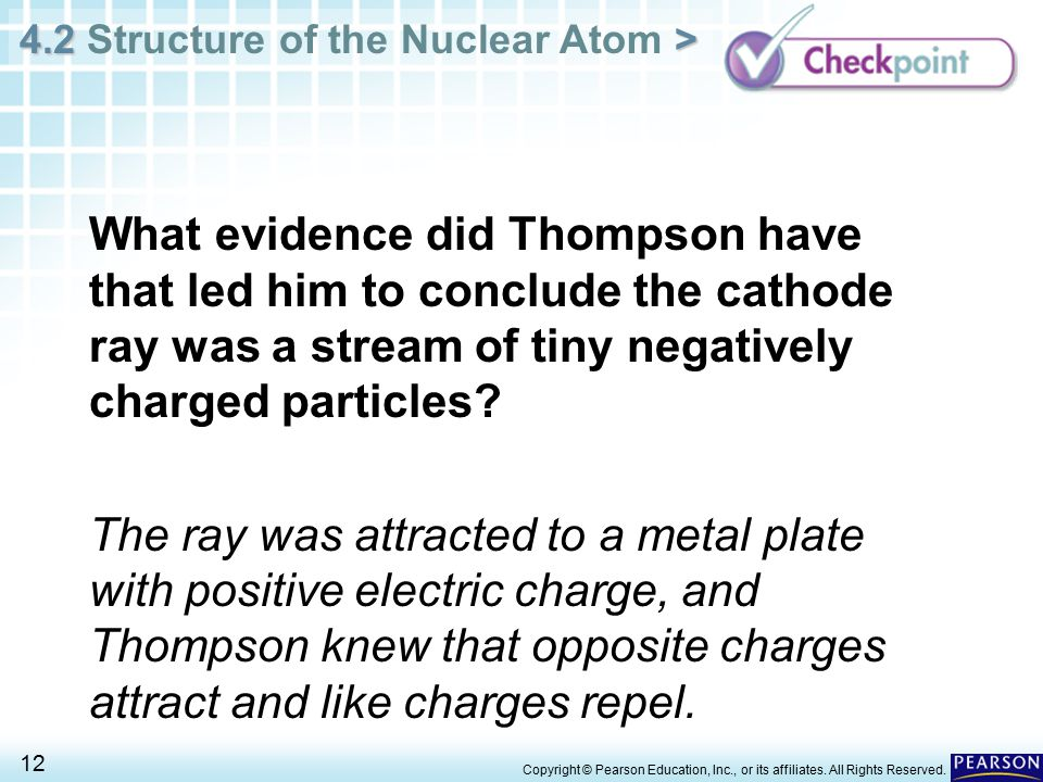 What evidence did Thompson have that led him to conclude the cathode ray was a stream of tiny negatively charged particles