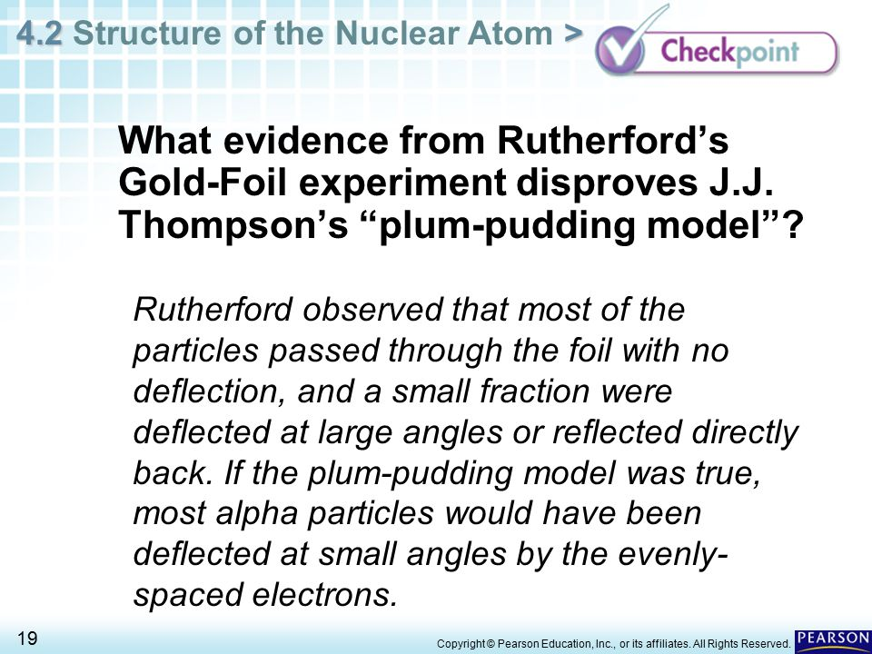 What evidence from Rutherford's Gold-Foil experiment disproves J. J