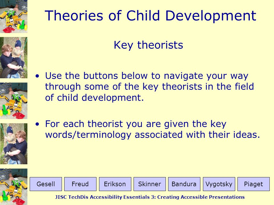 Key theorists Use the buttons below to navigate your way through some of the key theorists in the field of child development.