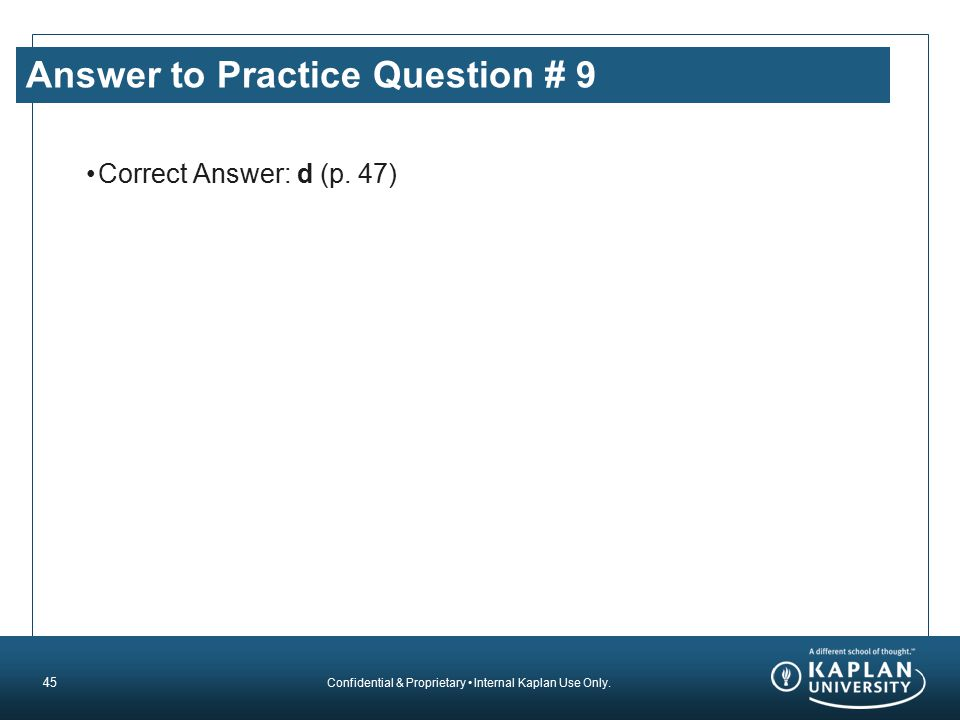 Answer to Practice Question # 9