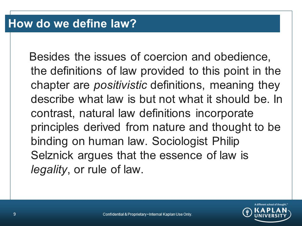 How do we define law