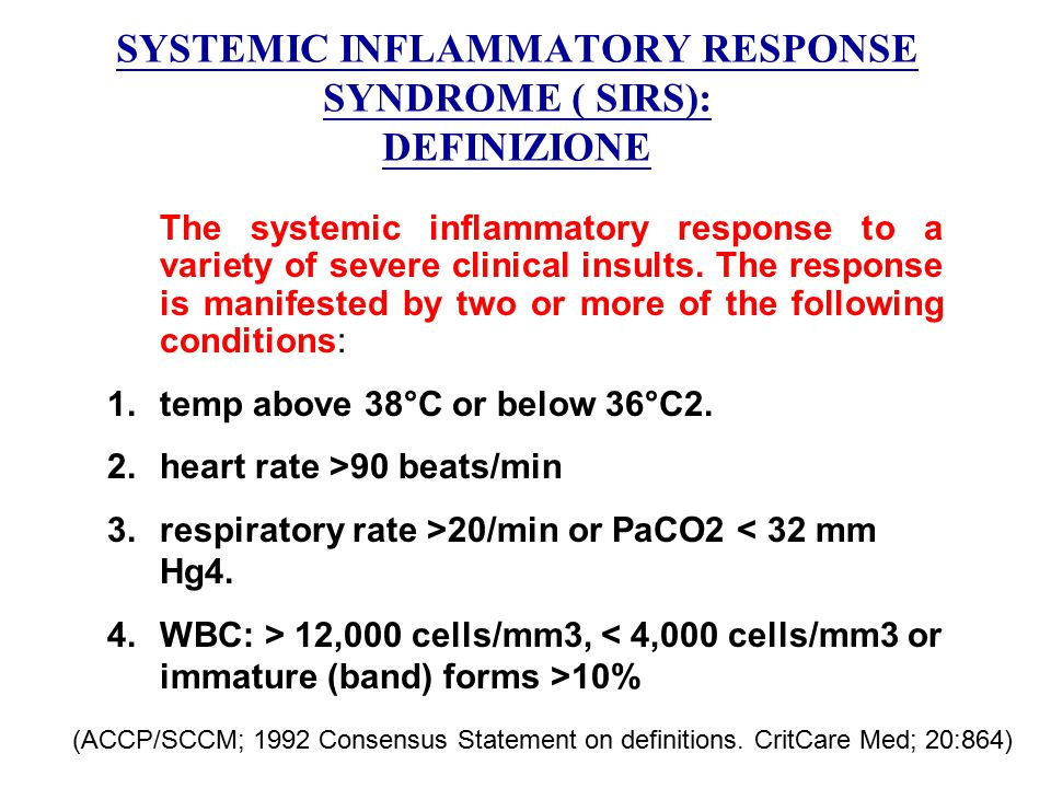 SYSTEMIC INFLAMMATORY RESPONSE SYNDROME ( SIRS): DEFINIZIONE