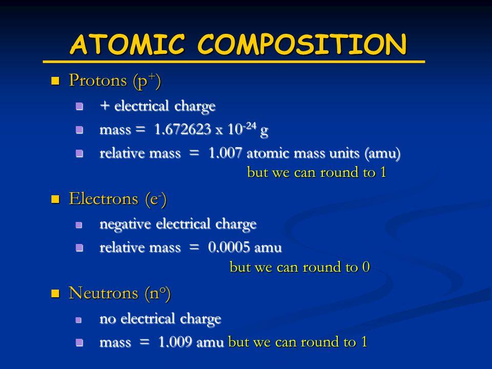 ATOMIC COMPOSITION Protons (p+) Electrons (e-) Neutrons (no)