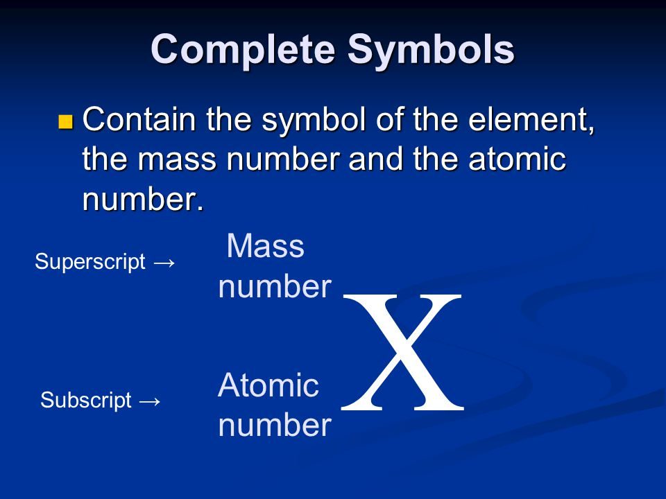 Complete Symbols Contain the symbol of the element, the mass number and the atomic number. Mass. number.