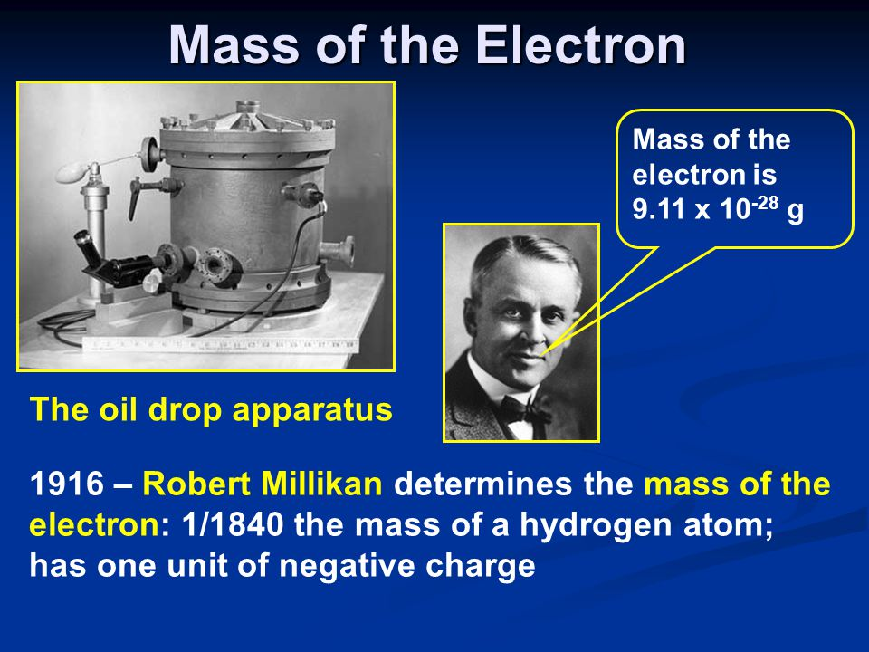 Mass of the Electron The oil drop apparatus