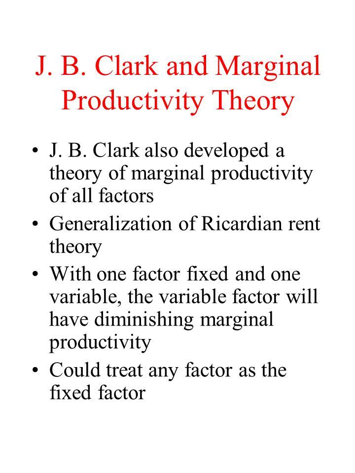 J. B. Clark and Marginal Productivity Theory