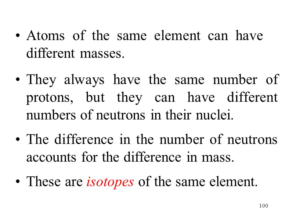 Atoms of the same element can have different masses.