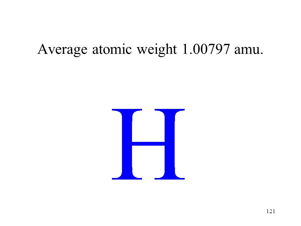 Average atomic weight 1.00797 amu.