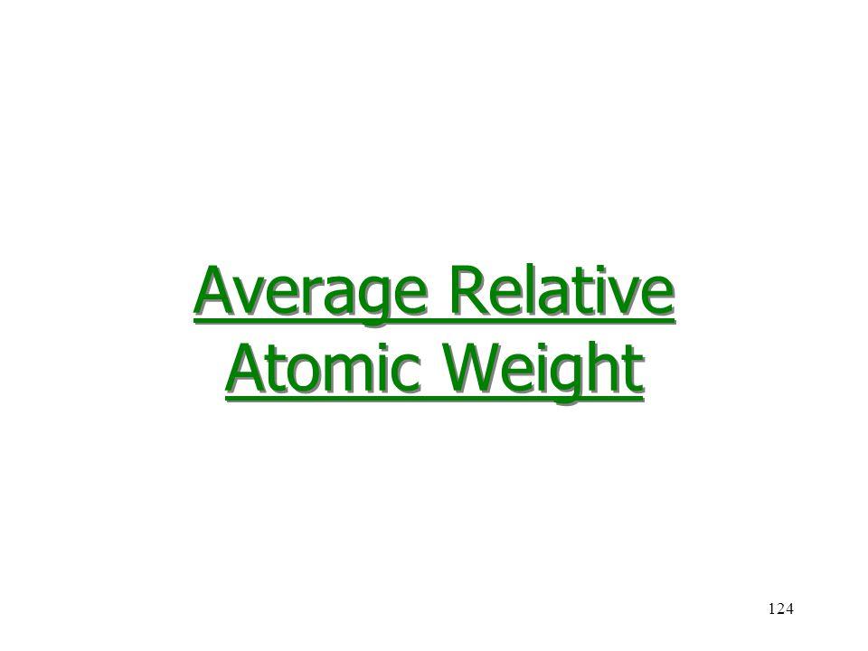 Average Relative Atomic Weight