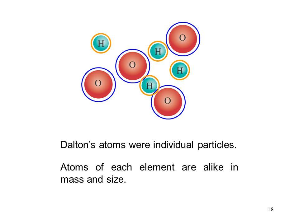 Dalton's atoms were individual particles.