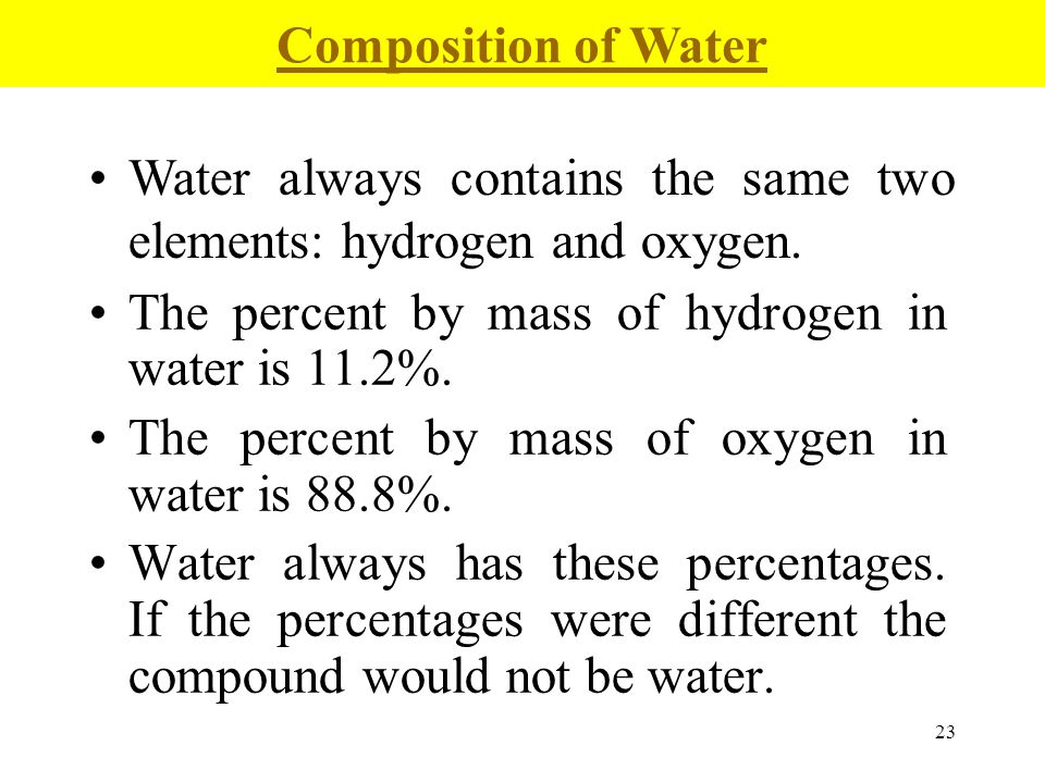 Composition of Water Water always contains the same two elements: hydrogen and oxygen. The percent by mass of hydrogen in water is 11.2%.
