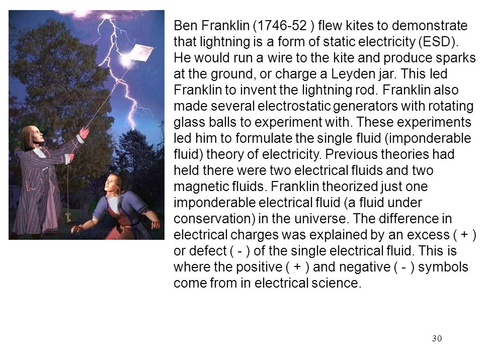 Ben Franklin (1746-52 ) flew kites to demonstrate that lightning is a form of static electricity (ESD).