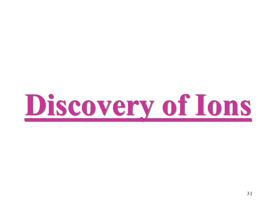Discovery of Ions