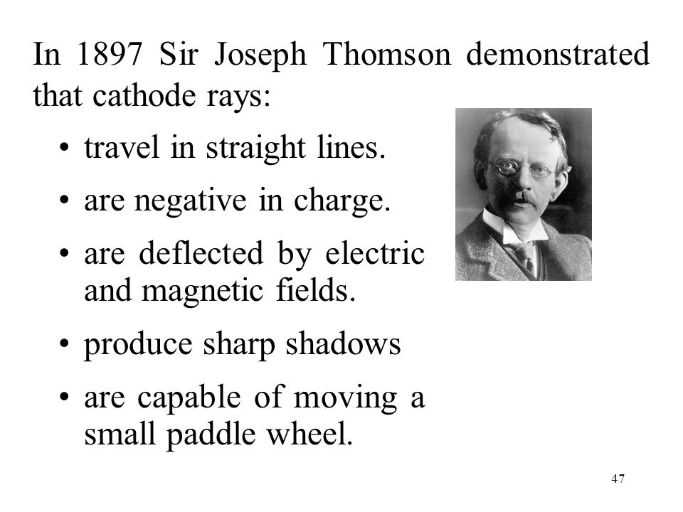 In 1897 Sir Joseph Thomson demonstrated that cathode rays: