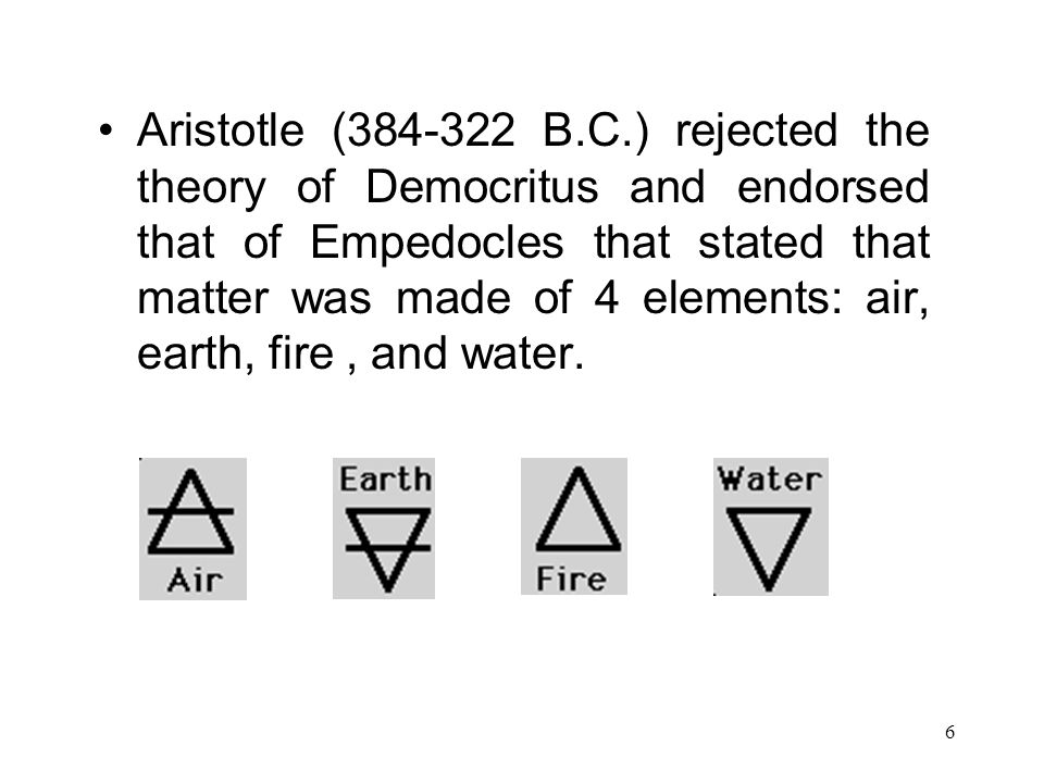 Aristotle (384-322 B.C.) rejected the theory of Democritus and endorsed that of Empedocles that stated that matter was made of 4 elements: air, earth, fire , and water.