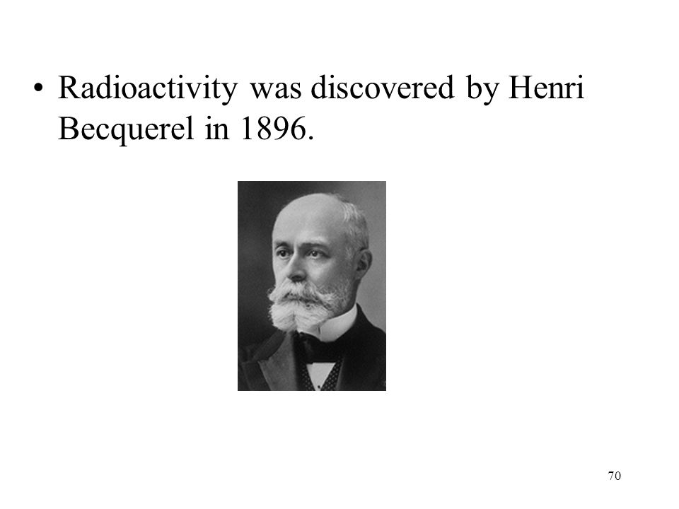 Radioactivity was discovered by Henri Becquerel in 1896.