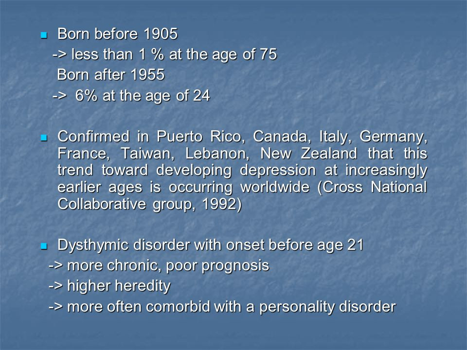 Born before 1905 -> less than 1 % at the age of 75. Born after 1955. -> 6% at the age of 24.