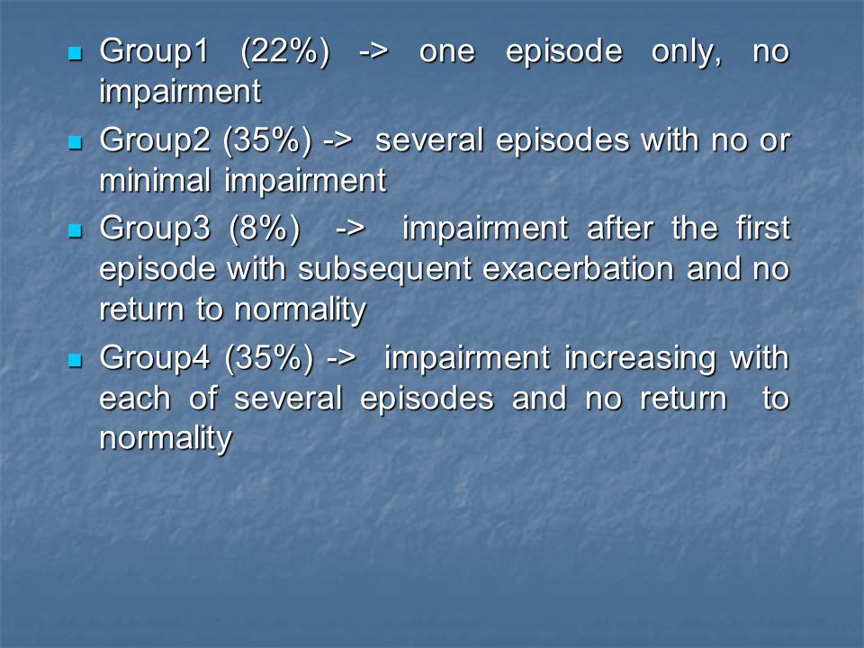 Group1 (22%) -> one episode only, no impairment