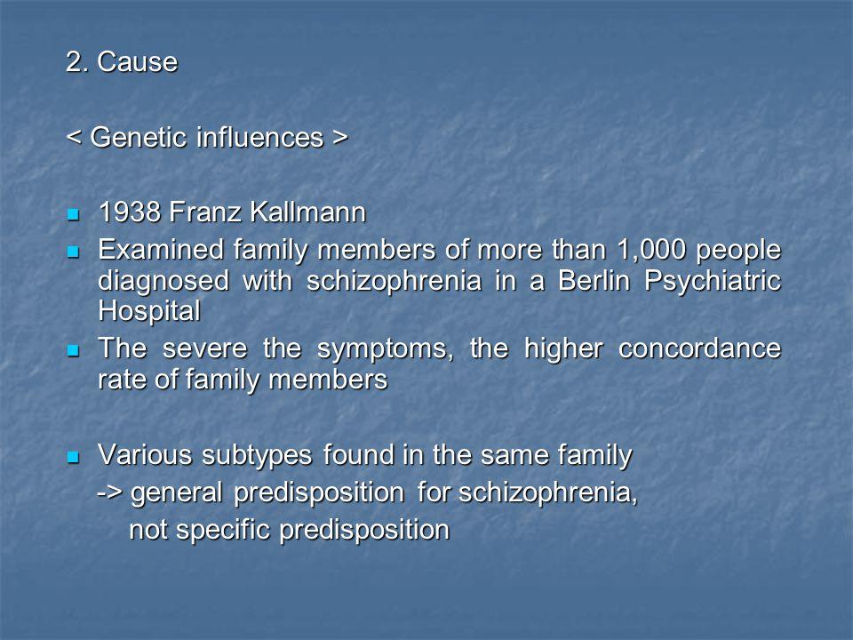 2. Cause < Genetic influences > 1938 Franz Kallmann.