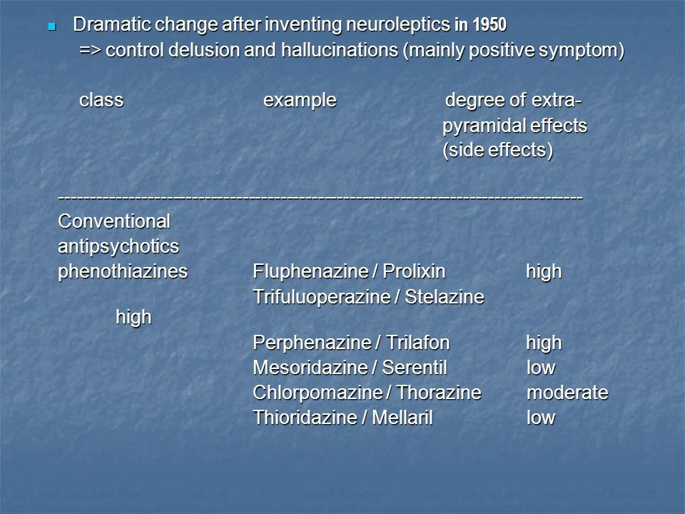 Dramatic change after inventing neuroleptics in 1950