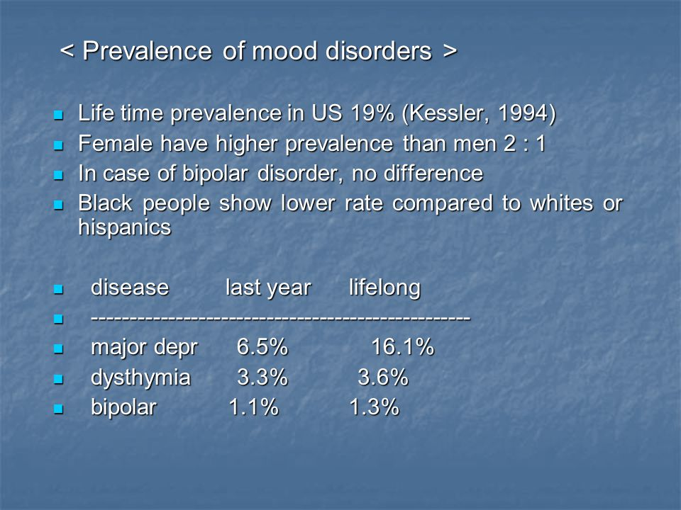 < Prevalence of mood disorders >