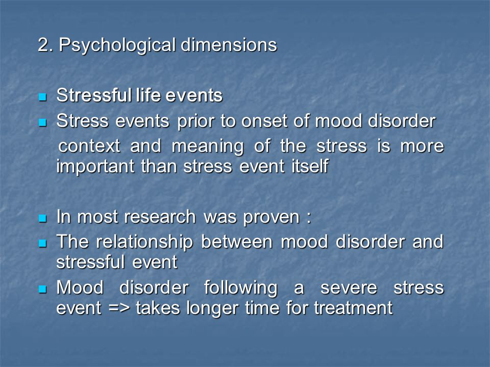 2. Psychological dimensions